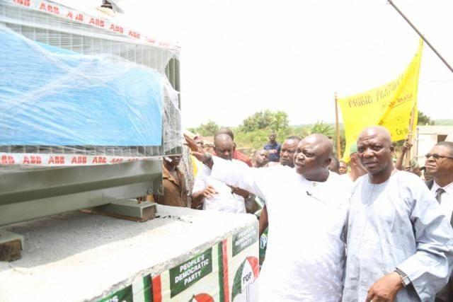 Hon Ladi Adebutu hands over the 500KVA transformer at Imasayi