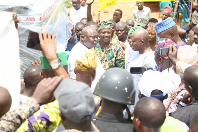 Hon Ladi Adebutu with the excited youth leader of Imasayi town, Mr Ewulo Bolarinwa