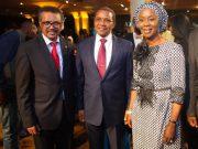Mrs Toyin Ojora-Saraki with WHO DG, Dr. Tedros and Former Tanzania President Jakaya Kikwete
