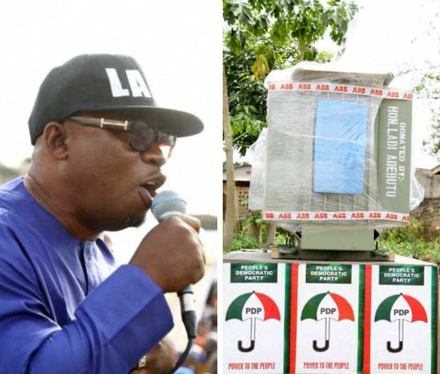 APC/OGHA Legislator, Hon Biyi Adeleye representing Remo North State Constituency, defects to PDP. LEFT: The 500KVA transformer donated to Bungalow/Sawmill Area, Ifo