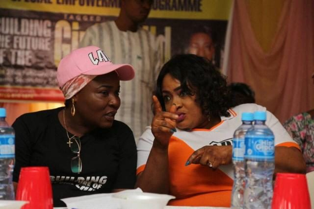 Yeye Adenike Adebutu in a tete-a-tete with movie actress, Mrs Foluke Daramola-Salako