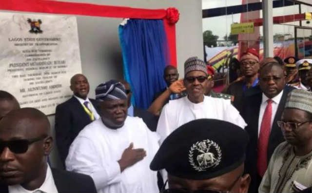President Muhammadu Buhari commissions Ikeja Bus Terminal during visit to Lagos - In the pix are Governor Akinwunmi Ambode and Others