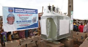 The 500KVA transformer donated to jumpstart commercial and domestic activities in Aiyepe