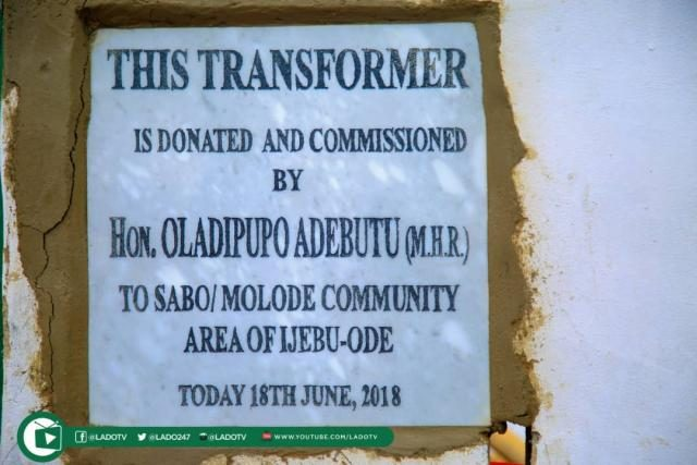 A transformer donated by Hon Ladi Adebutu on 16th June 2018