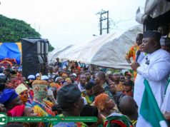 Hon Ladi Adebutu Addressing Rally Participants in Odogbolu Local Government