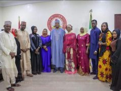 Senator Bukola Saraki wih his wife Mrs Toyin Saraki meets Ali Nuhu, Other Kannywood Superstars