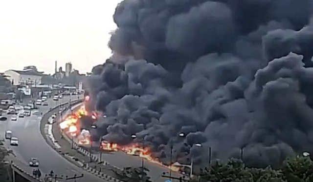 Tanker Explosion at Otedola Bridge leading to Berger Area of Lagos State