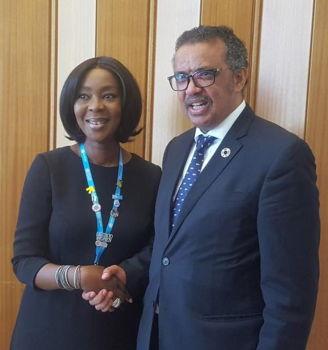 Mrs Saraki with Dr. Tedros, Director-General of the WHO