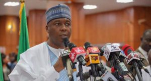 Senator Bukola Saraki at the World Press Conference on the National Assembly Invasion by DSS