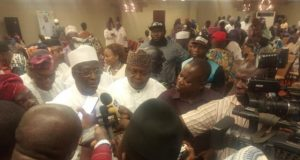Dr. Bafarawa fielding questions from reporters while Hon Ladi Adebutu looks on