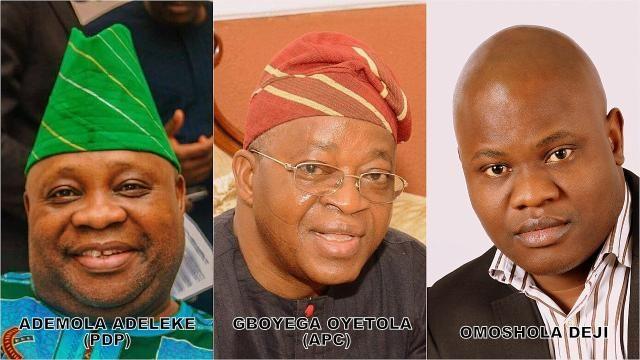 PDP's Ademola Adeleke and APC's Gboyega Oyetola with Analyst Omoshola Deji