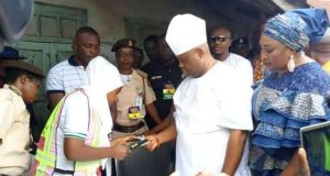 Senator Ademola Adeleke, PDP Guber Candidate at a polling booth casting his voting during 2018 Osun Governorship Election