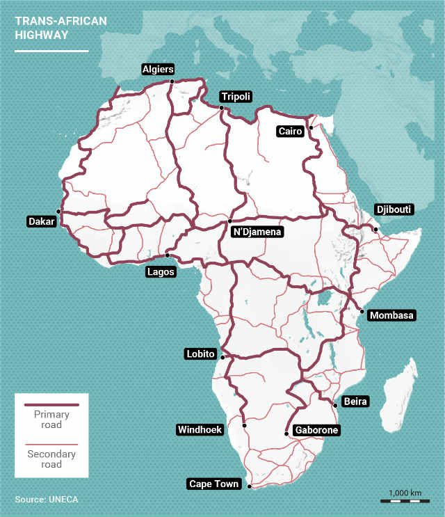 Trans-African Highway Road Network Map