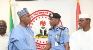 Senate President, Dr Abubakar Bukola Saraki with the Acting Inspector General of Police, Mohammed Adamu