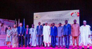 President Muhammadu Buhari with other dignataries at the National Democracy Day Anti-corruption Summit