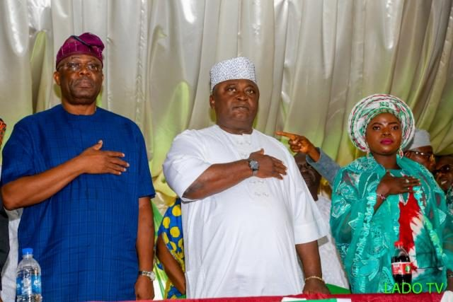 Hon Eddy Olafeso, South-West PDP Chairman with former House Committee Chairman on Rural Development, Hon Ladi Adebutu and Alhaja Jemilat Alagbe