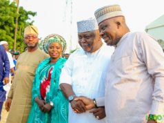 Hon Ladi Adebutu exchanges pleasantries with the state Chairman, Hon Sikirulai Ogundele while Hon Ajibola Kalejaiye and Alhaja Jemilata Alagbe look on