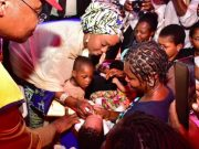 Mrs. Saraki participating in an immunisation campaign at the Lugbe Primary Health Centre in Abuja, April 2018