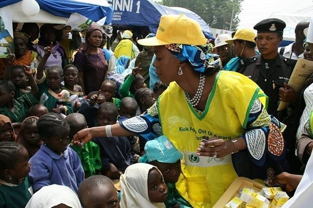 Mrs. Saraki participating in an immunisation campaign in Ilorin, Kwara State, 2008