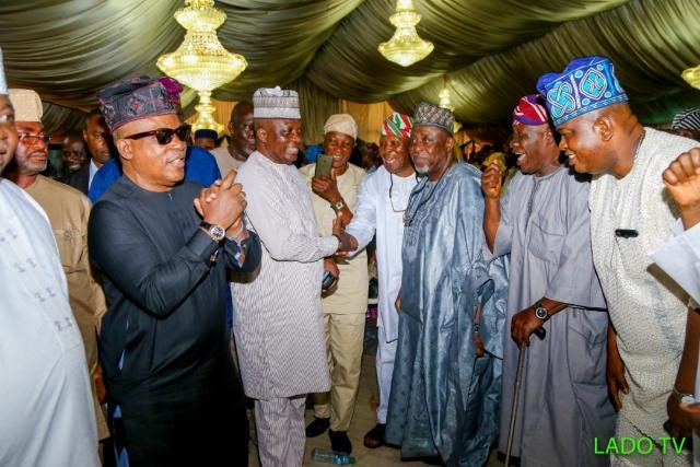 Prince Uche Secondus acknowledges greetings from party leaders on arrival