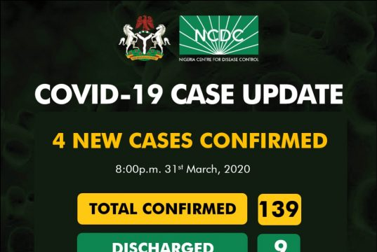 COVID-19 Case Update in Nigeria as at 31st March 2020
