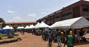 Lagos State Makeshift Food Market at Government Technical College, Ikorodu for COVID-19 Lockdown