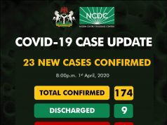 NCDC COVID-19 Case Update in Nigeria - 1st April 2020