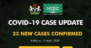 NCDC COVID-19 Case Update in Nigeria - 1st April 2020