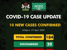 NCDC COVID-19 Case Update in Nigeria - 2nd April 2020