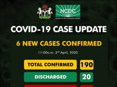 NCDC COVID-19 Case Update in Nigeria - 3rd April 2020