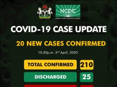 NCDC COVID-19 Case Update in Nigeria - 3rd April 2020 as at 10-30pm