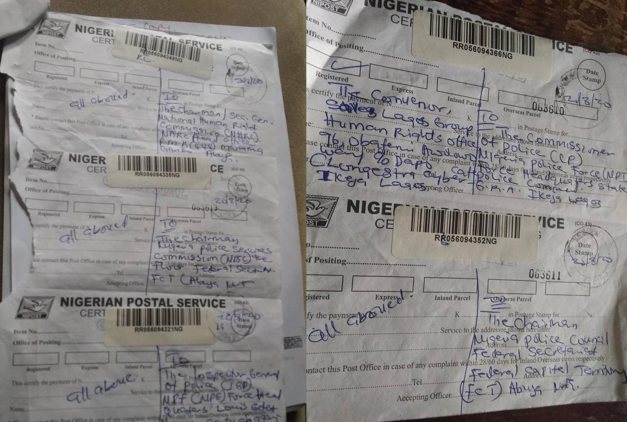 Evidence of Letter Dispatch to Nigeria Police Service Commission & Police Force 20th August 2020