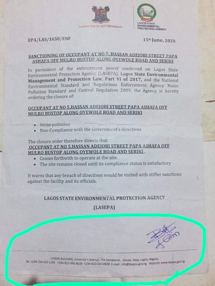 LASEPA Sanctioning Letter for 5 Hassan Adejob Street, Papa Ashafa, Lagos 15th July 2020