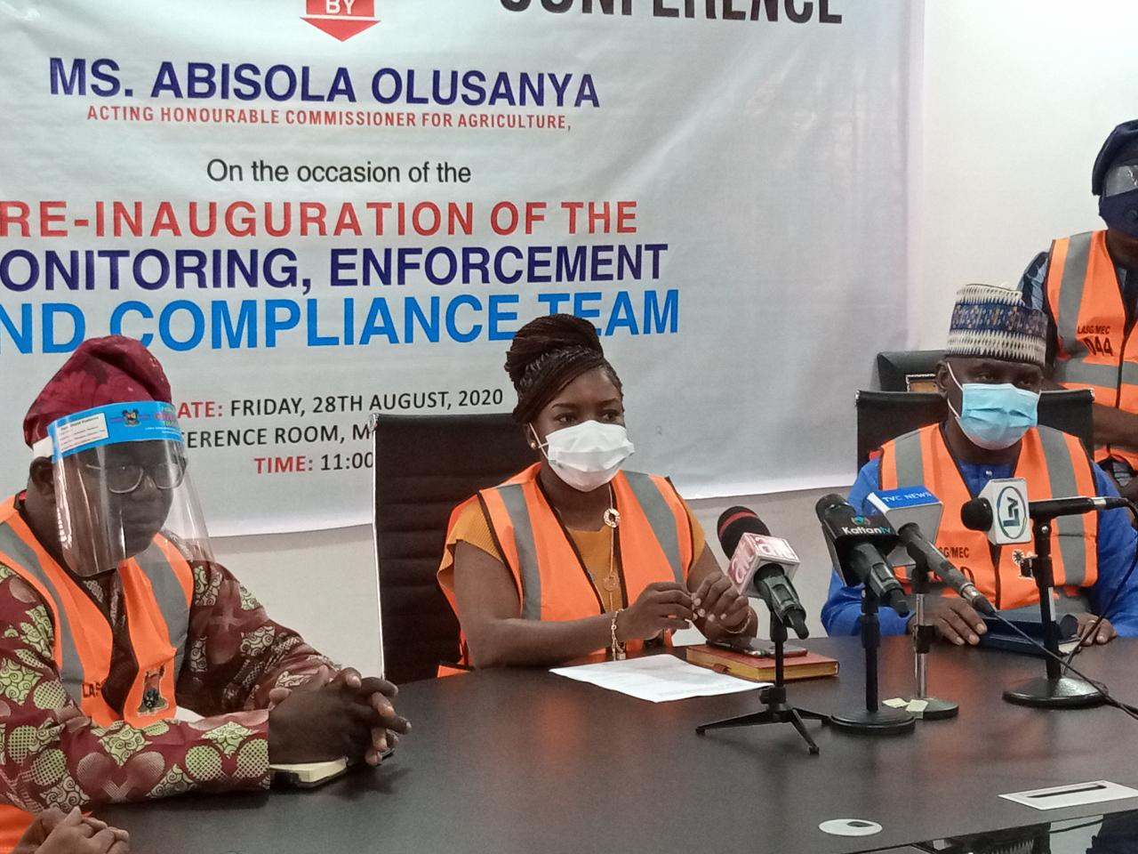State Acting Commissioner for Agriculture, Ms. Abisola Olusanya at the re-inauguration of the Ministry's Monitoring, Enforcement and Compliance Team Meeting 28th August 2020