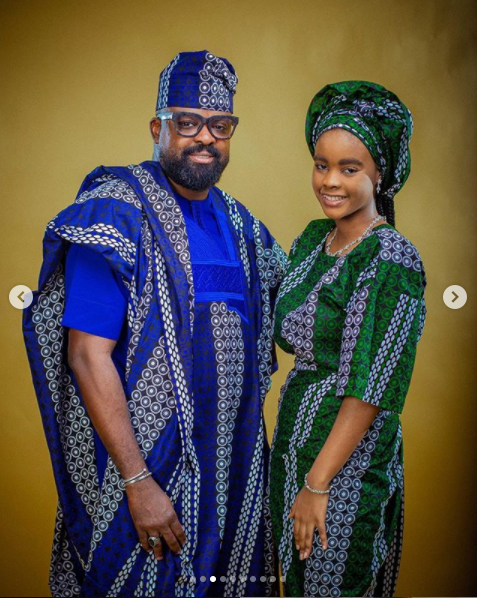 Kunle Afolayan and his family