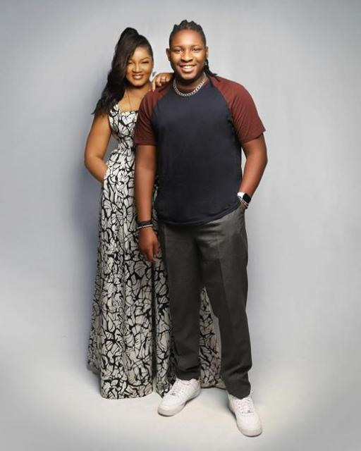 Omotola Jalade and her Son