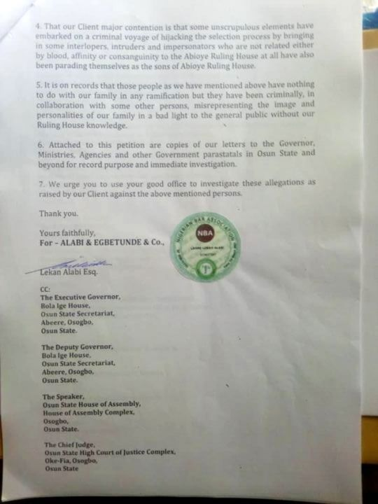 2nd Page of Letters for Alawo Stool Saga