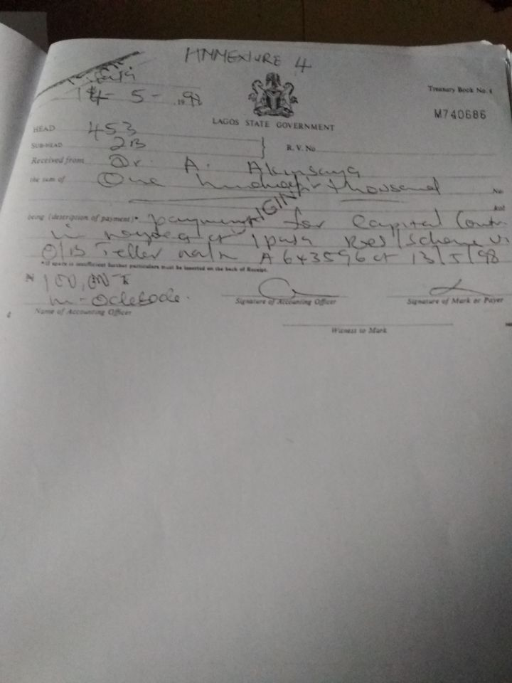 Acknowledgement Receipt for Save Lagos Group's Letter to Governor Babjide Sanwo-Olu - Annexture 4