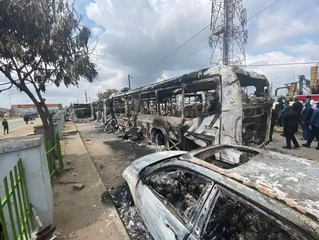 Burnt BRT Buses