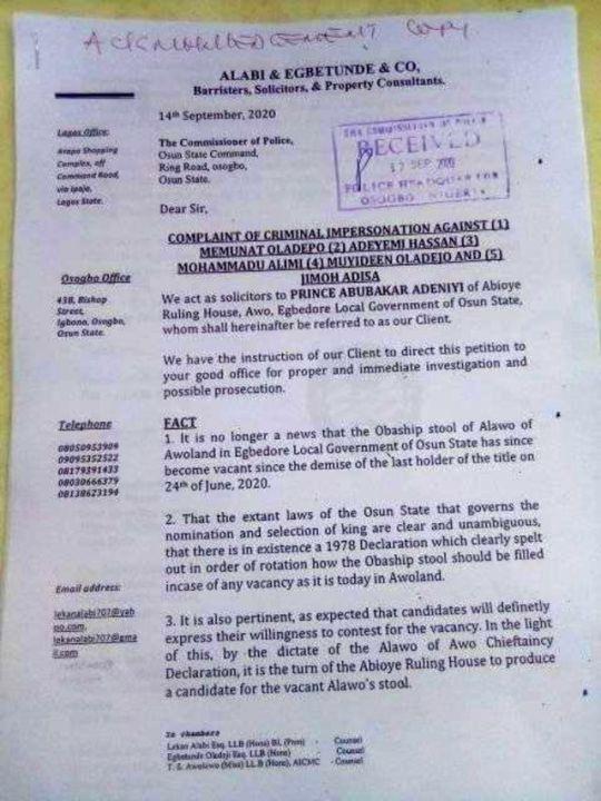 CP Letter for Alawo Stool Saga