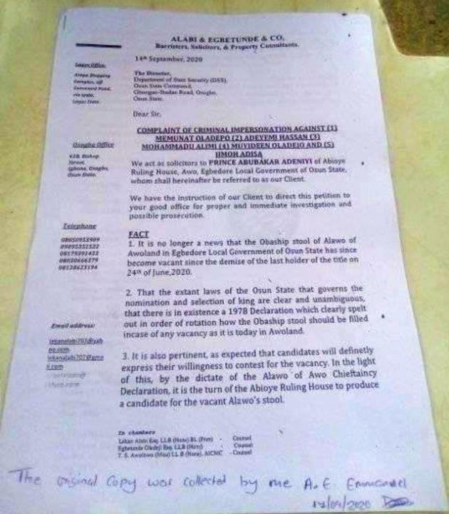 DSS Letter for Alawo Stool Saga