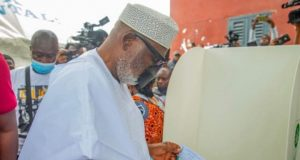 Governor Rotimi Akeredolu At The Ondo Election Ground