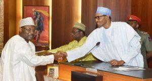 Professor Mahmood Yakubu with President Muhammadu Buhari