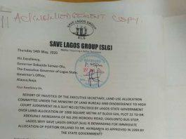 Save Lagos Group's Letter to Governor Babjide Sanwo-Olu - Page1