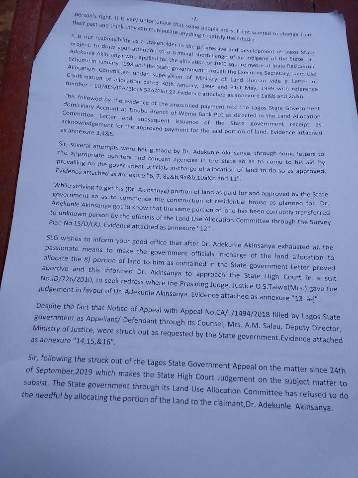 Save Lagos Group's Letter to Governor Babjide Sanwo-Olu - Page2