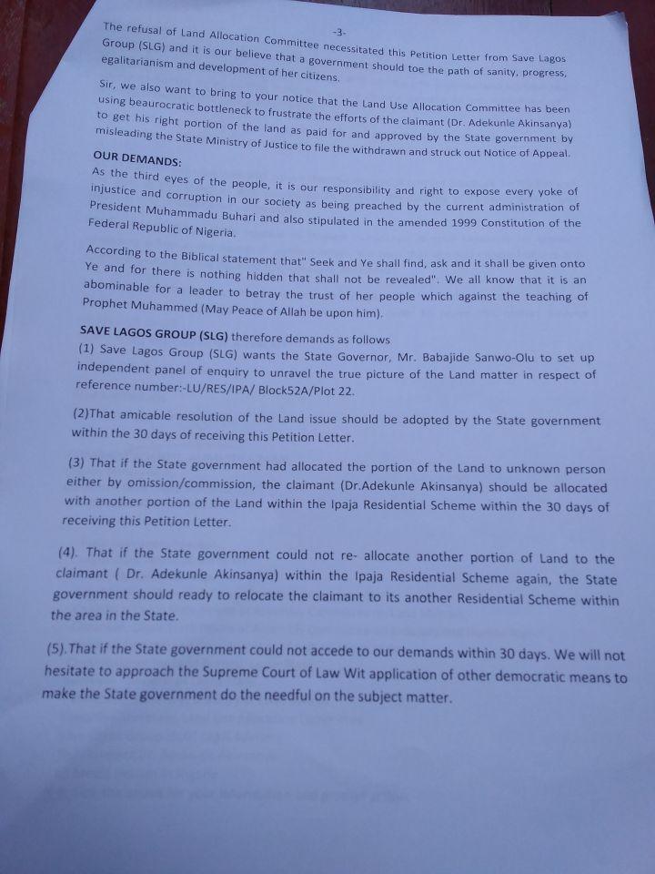 Save Lagos Group's Letter to Governor Babjide Sanwo-Olu - Page3
