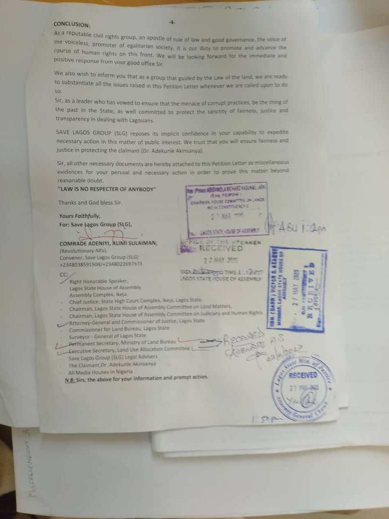 Save Lagos Group's Letter to Governor Babjide Sanwo-Olu - Page4