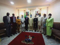 Lagos State Deputy Governor, Dr. Obafemi Hamzat with ECOWAS Representative, ECOWAS, Mr. Fred Kafeero and others