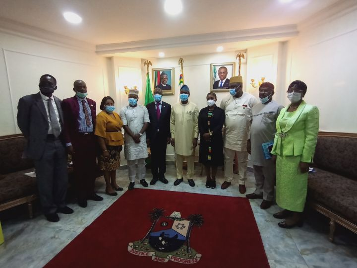 Lagos State Deputy Governor, Dr. Obafemi Hamzat with ECOWAS Representative, ECOWAS, Mr. Fred Kafeero and others