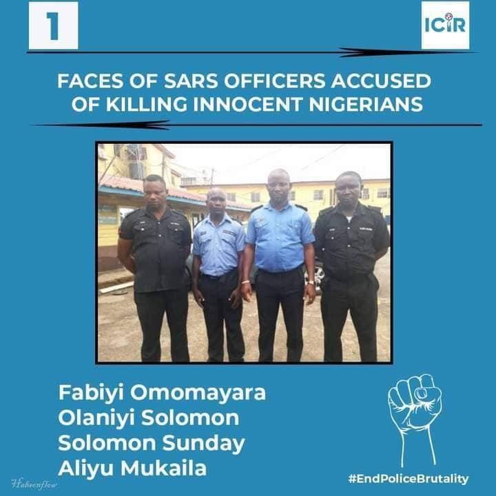SARS Officers Accused of Killing Innocent Nigerians - Fabiyi Omomayara, Olaniyi Solomon, Solomon Sunday and Aliyu Mukaila